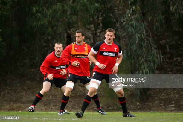 Ken Owens Sam Warburton and Dan Lydiate warm up during a Wales rugby training session at Scotch College on June 14 2012 in Melbourne Australia