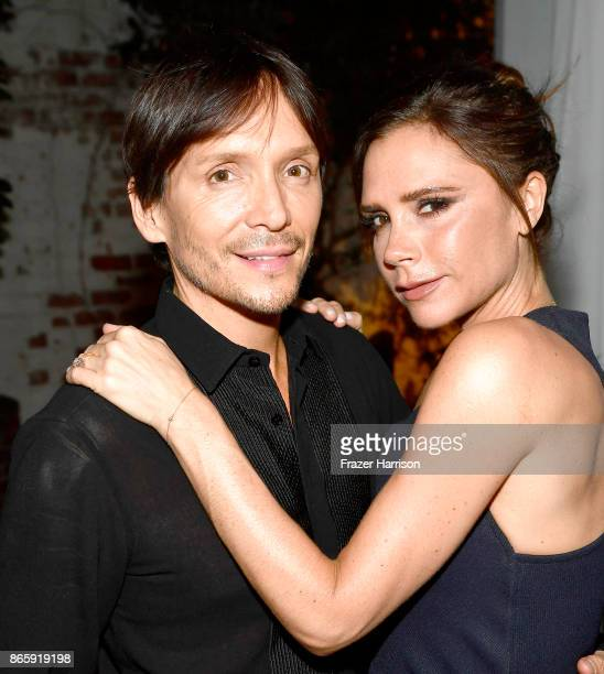 Ken Paves and Victoria Beckham at the grand opening of the new Ken Paves Salon hosted by Eva Longoria on October 23 2017 in Los Angeles California