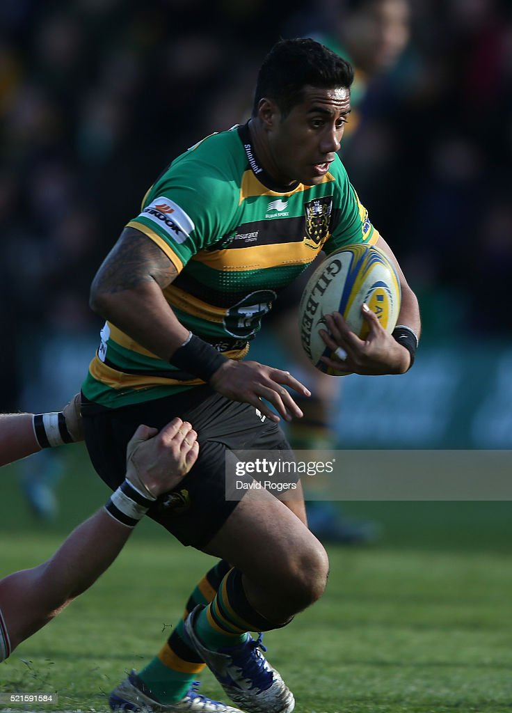 Ken Pisi of Northampton on the charge during the Aviva Premiership match between Northampton Saints and Leicester Tigers at Franklin's Gardens on April 16, 2016 in Northampton, England.