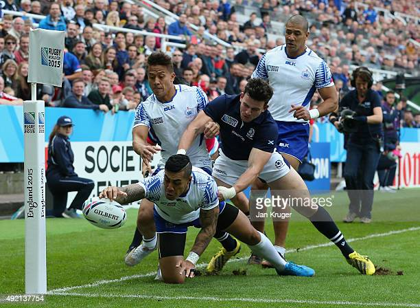 Ken Pisi of Samoa scores the first try during the 2015 Rugby World Cup Pool B match between Samoa and Scotland at St James' Park on October 10 2015...