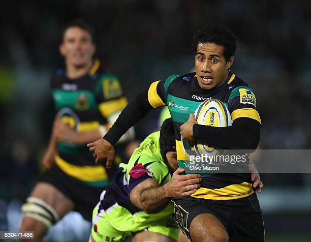 Ken Pisiof Northampton Saints in action during the Aviva Premiership match between Northampton Saints and Sale Sharks at Franklin's Gardens on...