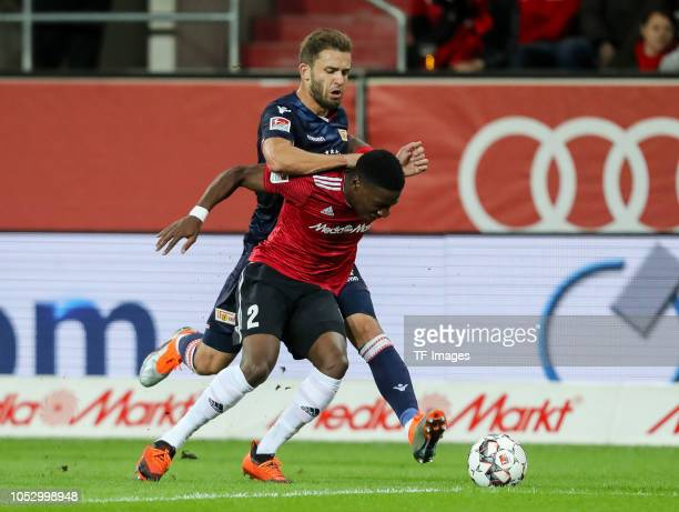 Ken Reichel of Union Berlin and Kangni Frederic Ananou of FC Ingolstadt battle for the ball during the Second Bundesliga match between FC Ingolstadt...