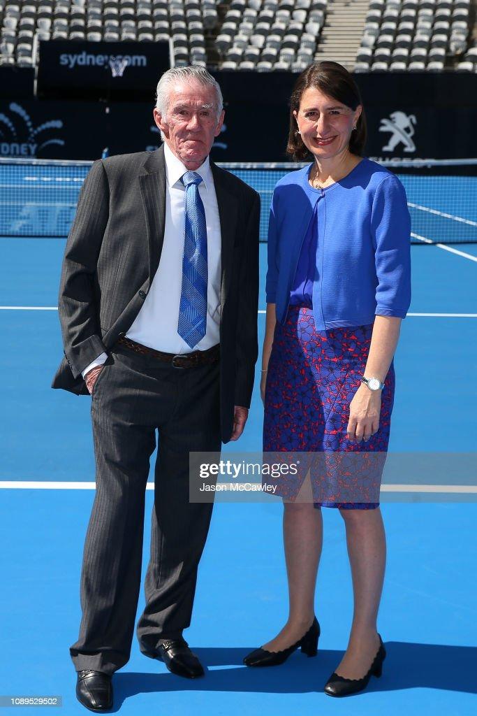 Ken Rosewall and NSW Premier Gladys Berejiklian pose during