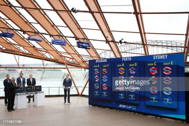 Ken Rosewall Lleyton Hewitt Pat Rafter and John Newcombe during the 2020 ATP Cup Draw at The Sydney Opera House on September 16 2019 in Sydney...