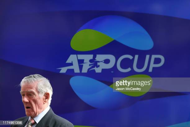 Ken Rosewall looks on during the 2020 ATP Cup Draw at The Sydney Opera House on September 16 2019 in Sydney Australia