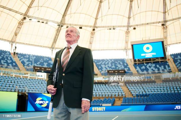 Ken Rosewall looks up to the new roof structure during a media opportunity at Ken Rosewall Arena on December 30 2019 in Sydney Australia