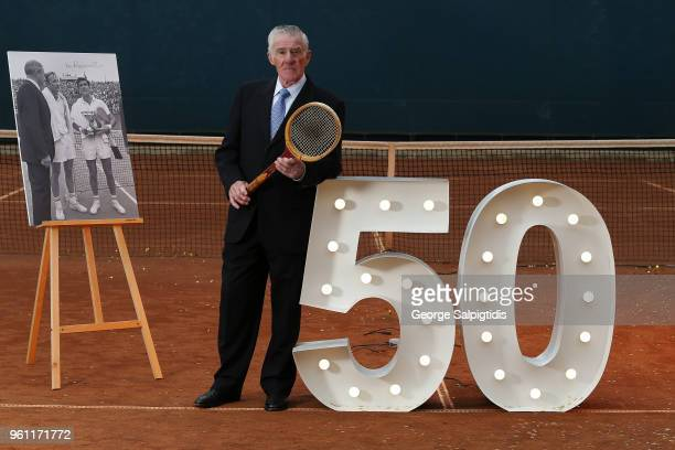 Ken Rosewall RolandGarros singles champion in 1968 and 1953 poses for a photo at Melbourne Park on May 22 2018 in Melbourne Australia Ken Rosewall...
