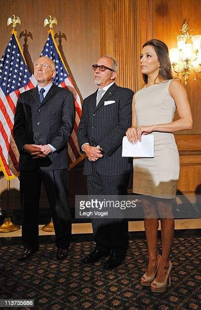 Ken Salazar Emilio Estefan and Eva Longoria attend the National Museum of the American Latino final report press conference at the US Capital...
