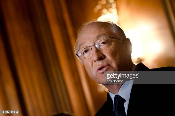 Ken Salazar speaks during the National Museum of the American Latino final report press conference at the US Capital Mansfield Room on May 5 2011 in...
