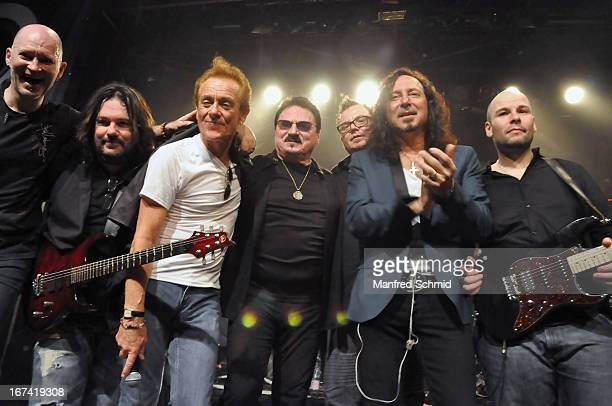 Ken Sandin Tommy Denander Graham Bonnet Bobby Kimbal Bill Champlin Steve Augeri and Sayit Doelen perform onstage during the 30th anniversary party of...