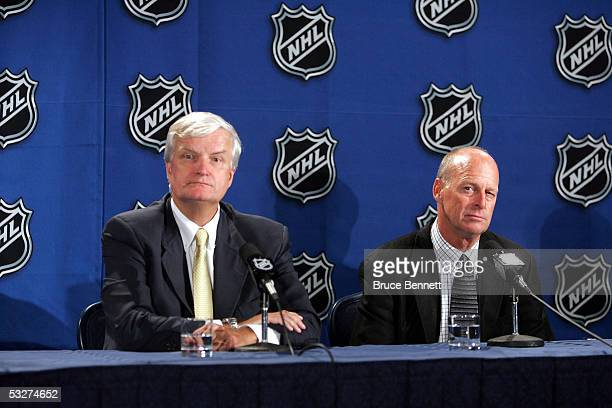 Ken Sawyer and Craig Patrick of the Pittsburgh Penguins address the media after winning the first overall selection in the National Hockey League...