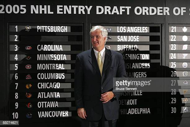 Ken Sawyer President and Governor of the Pittsburgh Penguins stands in front of the draft board after the Penguins won the first overall pick during...