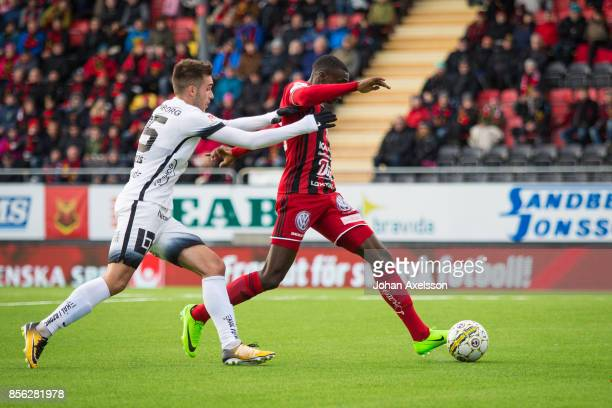 Ken Sema of Ostersunds FK and Egzon Binaku of BK Hacken competes for the ball during the Allsvenskan match between Ostersunds FK and BK Hacken at...