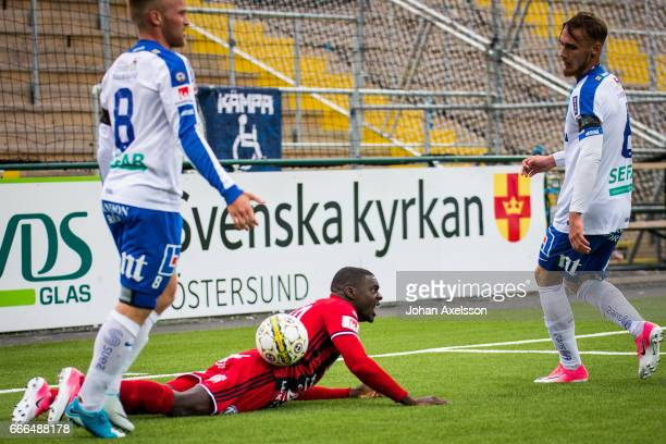Ken Sema of Ostersunds FK and Nicklas Barkroth of IFK Norrkoping competes for the ball during the Allsvenskan match between Ostersunds FK and IFK...
