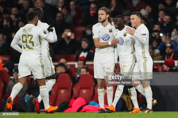 Ken Sema of Ostersunds FK celebrates after scoring a goal to make it 0-2 during UEFA Europa League Round of 32 match between Arsenal and Ostersunds...