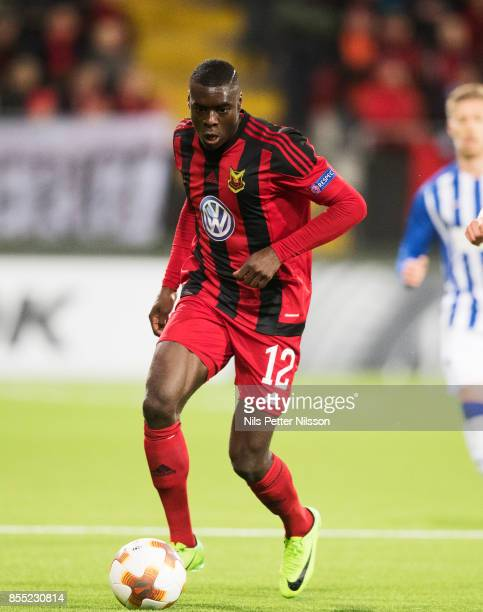 Ken Sema of Ostersunds FK celebrates after scoring to 1-0 during the UEFA Europa League group J match between Ostersunds FK and Hertha BSC at...