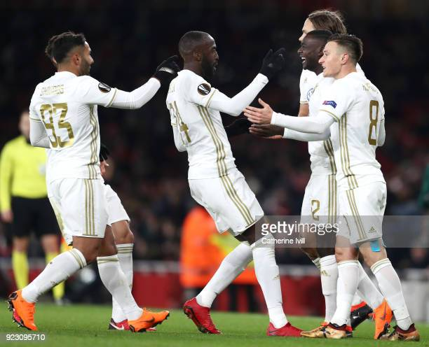 Ken Sema of Ostersunds FK celebrates scoring the second Ostersunds goal with team mates during UEFA Europa League Round of 32 match between Arsenal...