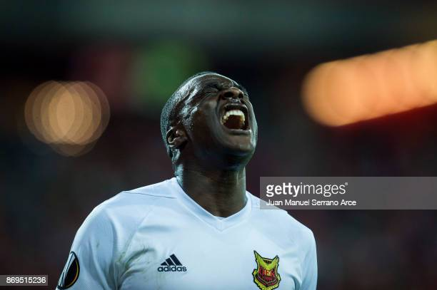 Ken Sema of Ostersunds FK reacts during the UEFA Europa League group J match between Athletic Bilbao and Ostersunds FK at San Mames Stadium on...