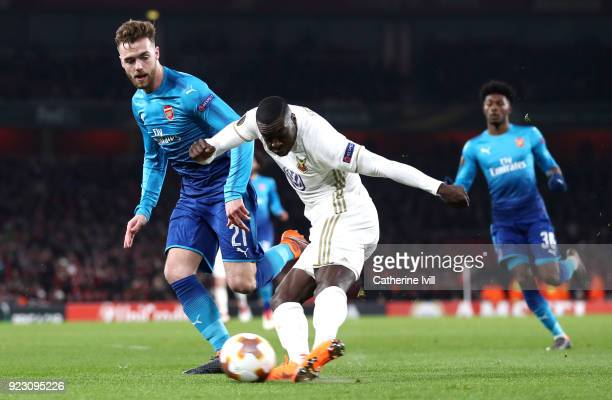 Ken Sema of Ostersunds FK scores the second Ostersunds goal during UEFA Europa League Round of 32 match between Arsenal and Ostersunds FK at the...