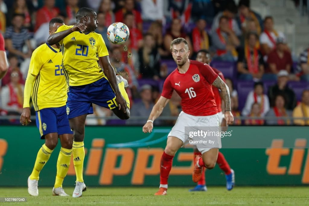 Ken Sema of Sweden and Peter Zulj of Austria during the International Friendship game between Austria and Sweden at the Generali Arena on September 06, 2018 in Vienna, Austria.