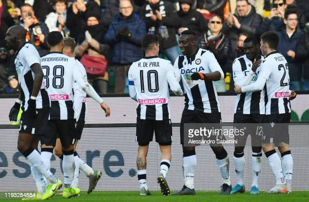 Ken Sema of Udinese Calcio celebrates after scoring the opening goal with team mates during the Serie A match between Udinese Calcio and US Sassuolo...
