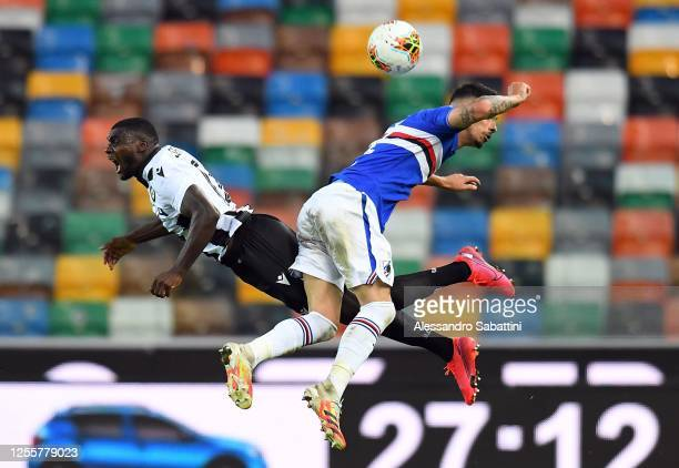 Ken Sema of Udinese Calcio competes for the ball with Fabio Depaoli of UC Sampdoria during the Serie A match between Udinese Calcio and UC Sampdoria...