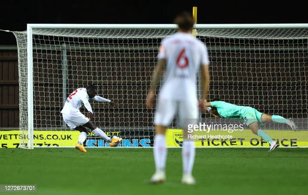 Ken Sema of Watford scores his team's first goal during the Carabao Cup Second Round match between Oxford United and Watford FC at Kassam Stadium on...