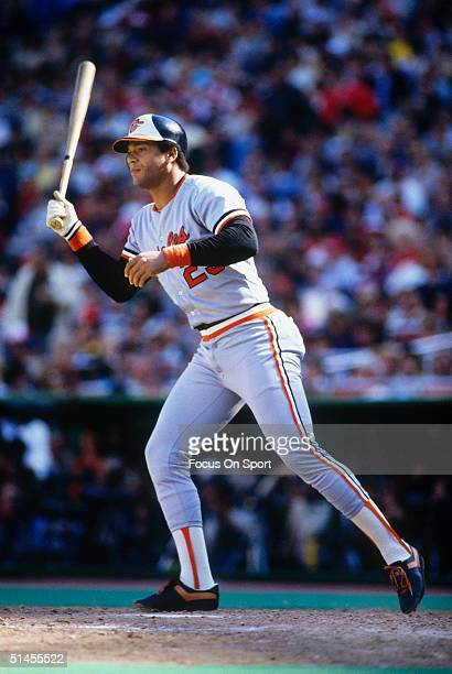 Ken Singleton of the Baltimore Orioles bats against the Philadelphia Phillies during the World Series at Veterans Stadium in Philadelphia...