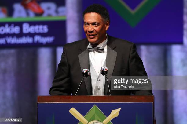 Ken Singleton winner of the Casey Stengel You Can Look it Up award speaks during the 2019 Baseball Writers' Association of America awards dinner on...