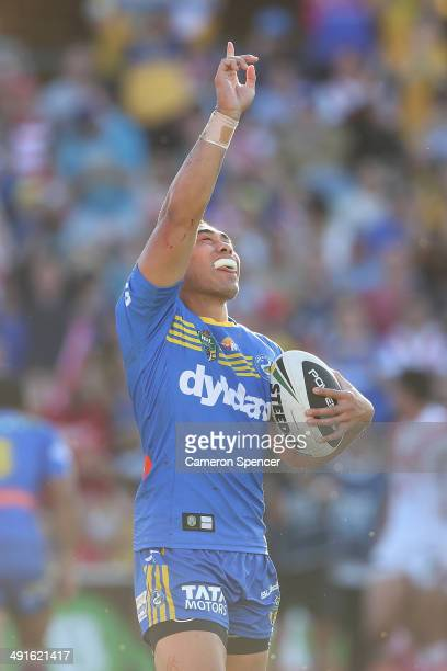 Ken Sio of the Eels celebrates scoring a try during the round 10 NRL match between the Parramatta Eels and the St George Illawarra Dragons at Pirtek...