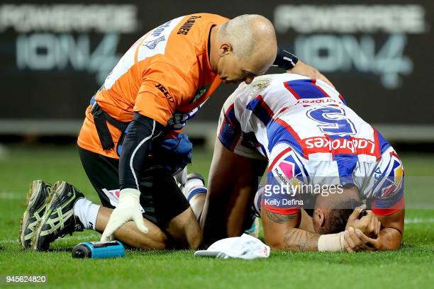 Ken Sio of the Knights receives medical attention after a collision during the round six NRL match between the Melbourne Storm and the Newcastle...