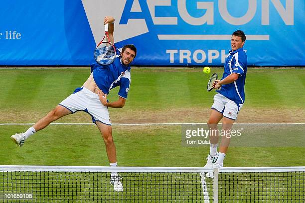 Ken Skupski and Colin Fleming of Great Britain in action during the men's doubles final match between Ken Skupski and C olin Fleming of Great Britain...