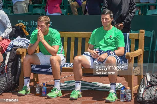 Ken Skupski and Neal Skupski await the trophy presentation as runner up for the men's clay court doubles finals match on April 14, 2019 at River Oaks...