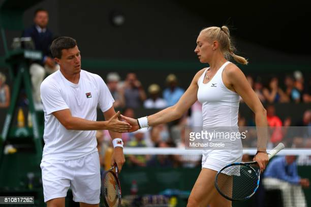 Ken Skupski of Great Britain and Jocelyn Rae of Great Britain celebrate during the Mixed Doubles first round match against Edouard RogerVasselin of...