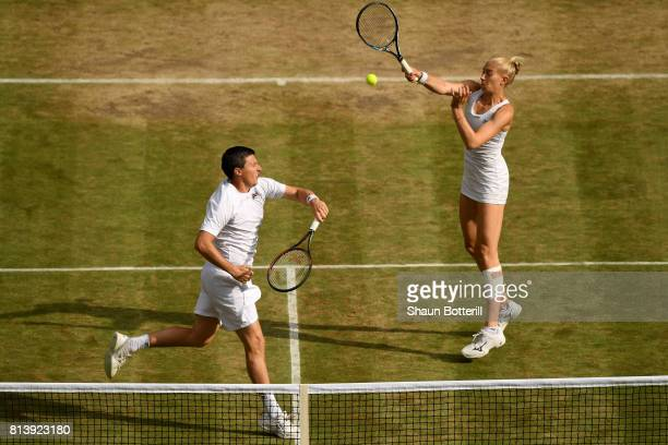 Ken Skupski of Great Britain and Jocelyn Rae of Great Britain in action during the Mixed Doubles quarter final match against Jamie Murray of Great...