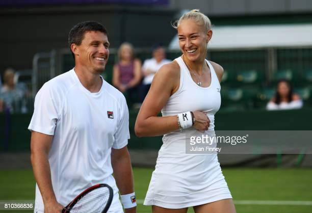 Ken Skupski of Great Britain and Jocelyn Rae of Great Britain look on during the Mixed Doubles first round match against Divij Sharan of India and...
