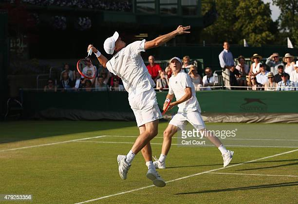 Ken Skupski of Great Britain and Neal Skupski of Great Britain in action during their Mens Doubles First Round match against Marci Matkowski of...