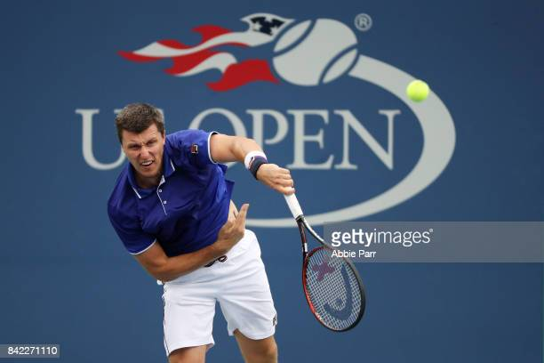 Ken Skupski of Great Britain in action during his men's doubles second round match against Jordan Thompson of Australia and Robert Lindstedt of...