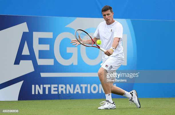 Ken Skupski of Great Britain plays a forehand against Remi Boutillier of France during their Men's Singles qualifying match on day one of the Aegon...