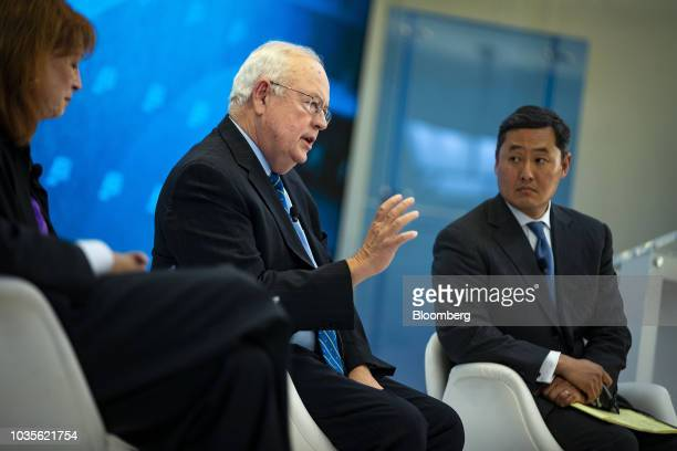 Ken Starr former independent counsel who investigated former US President Bill Clinton stands before speaking at an American Enterprise Institute...