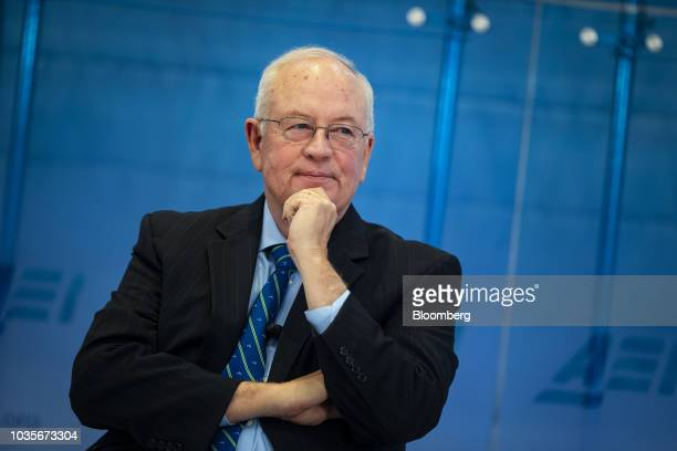 Ken Starr former independent counsel who investigated former US President Bill Clinton listens during an American Enterprise Institute event in...