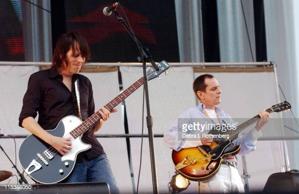 Ken Stringfellow and Alex Chilton of Big Star during Little Steven's Underground Garage Festival Presented by Dunkin' Donuts Show August 14 2004 at...