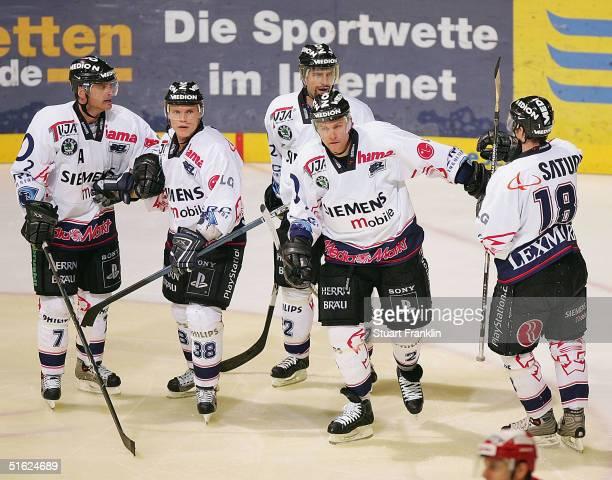 Ken Sutton of Ingolstadt celebrates scoring his goal against of Hanover during The Deutsche Eishockey Liga match between Hanover Scorpions and ERC...