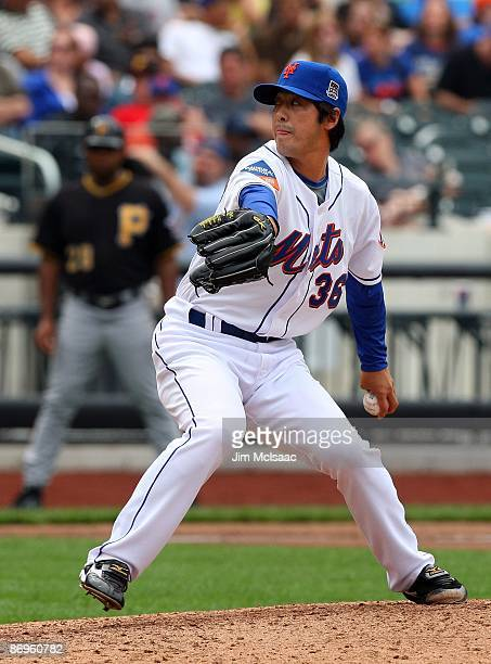 Ken Takahashi of the New York Mets deals a pitch against the Pittsburgh Pirates on May 9 2009 at Citi Field in the Flushing neighborhood of the...
