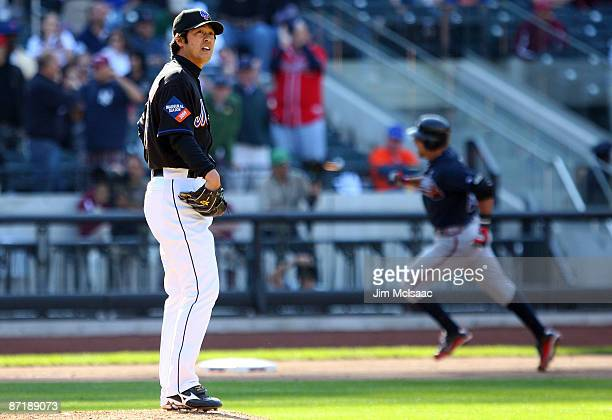Ken Takahashi of the New York Mets looks on after surrendering a twelth inning home run to Martin Prado of the Atlanta Braves on May 13 2009 at Citi...