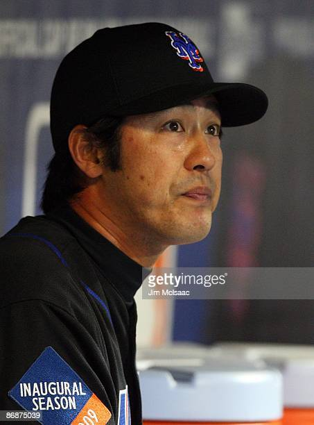 Ken Takahashi of the New York Mets looks on against the Pittsburgh Pirates on May 8 2009 at Citi Field in the Flushing neighborhood of the Queens...