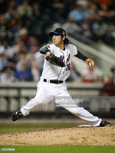 Ken Takahashi of the New York Mets pitches against the Atlanta Braves during the game on September 23 2009 at Citi Field in the Flushing neighborhood...