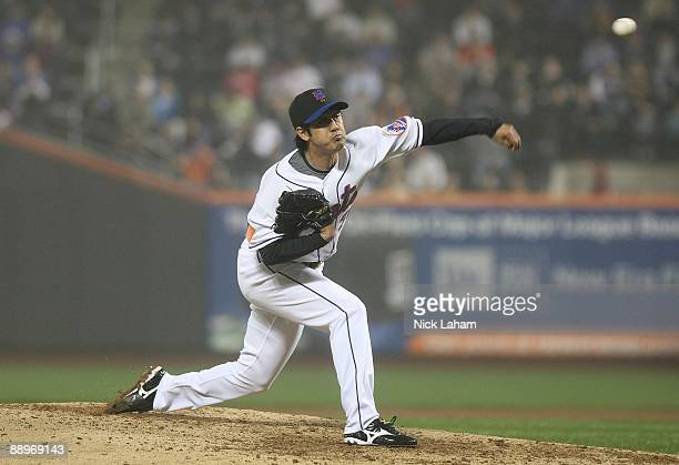Ken Takahashi of the New York Mets pitches against the Philadelphia Phillies on June 11 2009 at Citi Field in the Flushing neighborhood of the Queens...