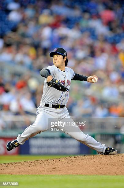 Ken Takahashi of the New York Mets pitches against the Washington Nationals at Nationals Park on June 6 2009 in Washington DC