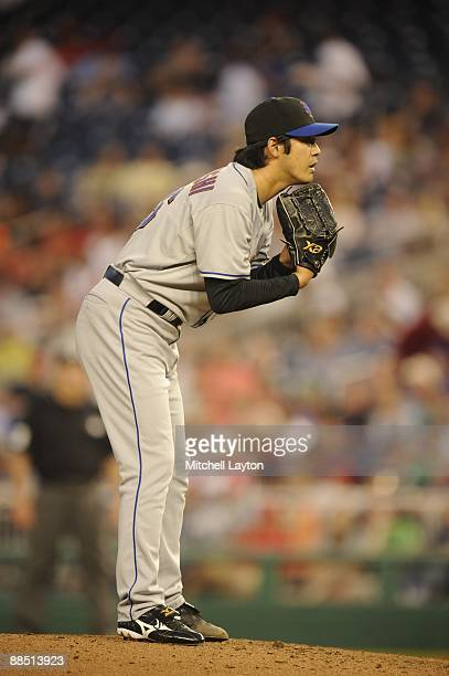 Ken Takahashi of the New York Mets pitches during a baseball game against the Washington Nationals on June 6 2009 at Nationals Park in Washington DC